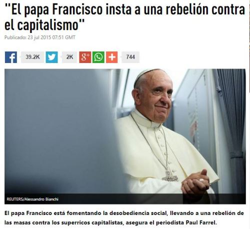 papa francisco rebeleion capitalismo