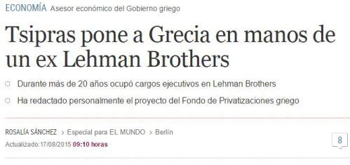 tsripas grecia lehmn brothers
