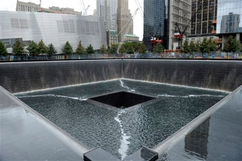 A view of the World Trade Center South Tower memorial pool at the National September 11 Memorial and Museum in New York,Tuesday, Sept. 6, 2011. (AP Photo/Susan Walsh, POOL)