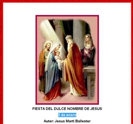 3 de enero fiestas del santísimo nombre de jesus