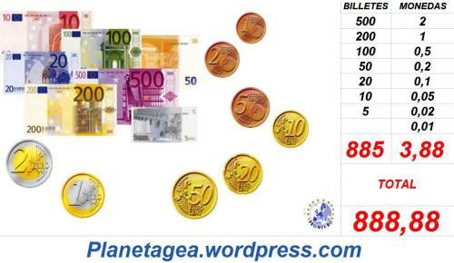 BILLETES Y MONEDAS EURO SUMAN 888,88