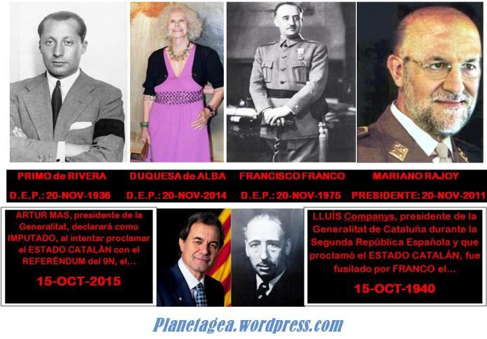 Rajoy, Franco, Duquesa Alba, Primo de Rivera 20N, Artur Mas y Lluis Companys 15 Octubre