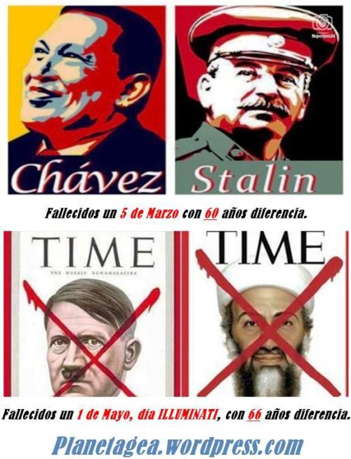 stalin y chavez 3 de marzo, y hitler y bin laden 1 de mayo dia illuminati.