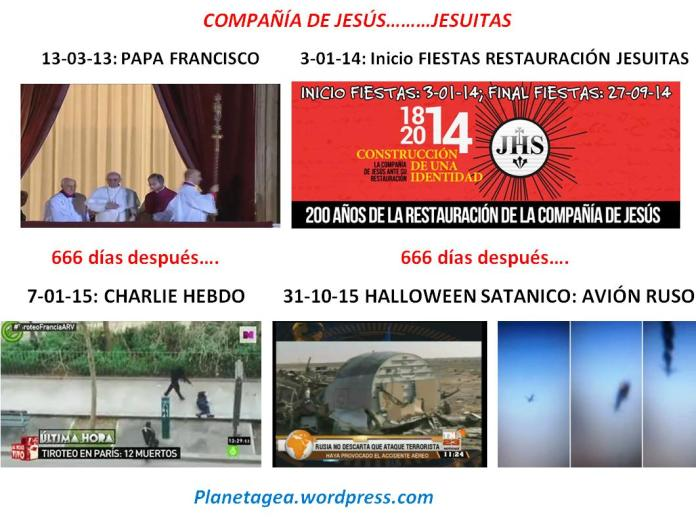 666 DIAS DESPUES PAPA FRANCISCO E INICIO FIESTAS JESUITAS, CHARLIE HEBDO Y ATENTADO AVION RUSO