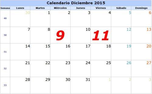 9 Y 11 DE DICIEMBRE 2015
