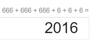 2016=666+666+666+6+6+6