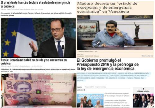 francia, venezuela, argentina mergencia economica. ucrania quiebra.