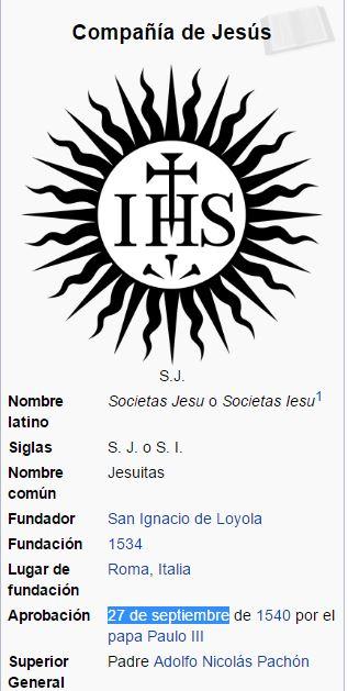 jesuitas 27 septiembre aprobacion papal