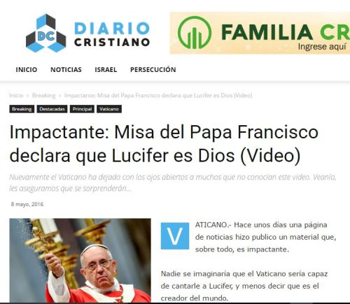 papa francisco lucifer