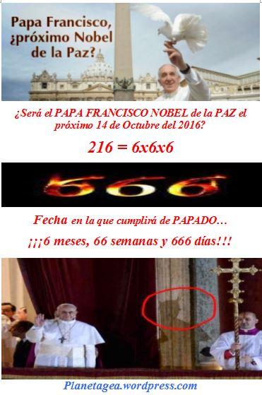papa nobel paz 14 octubre 6x6x6 cuando cumple 6-66-666.