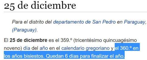 25 diciembre 360 bisisesto