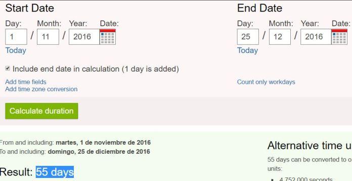 55 dias dia todos los santos navidad