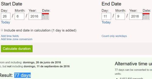 77 dias desde 26j hasta 11 septiembre