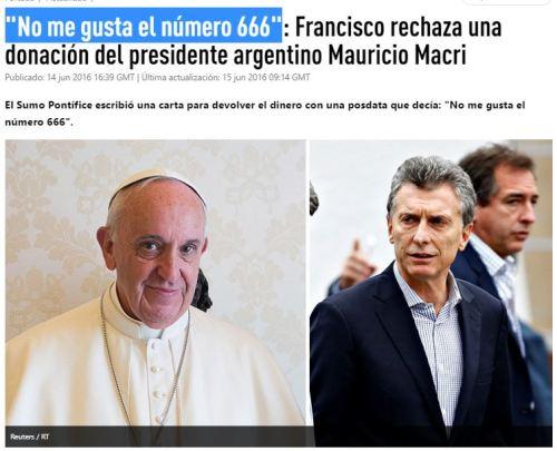 no me gusta el 666 papa francisco