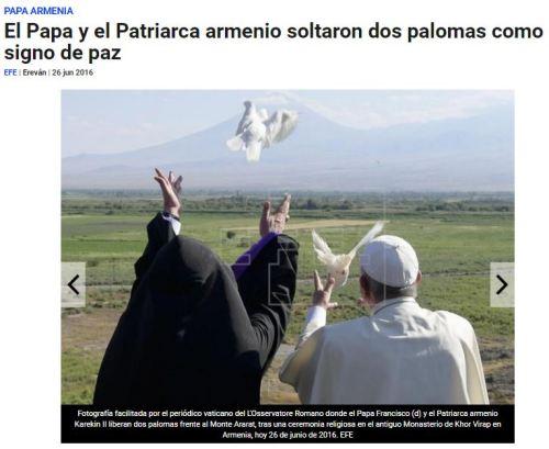 papa francisco monte ararat palomas paz