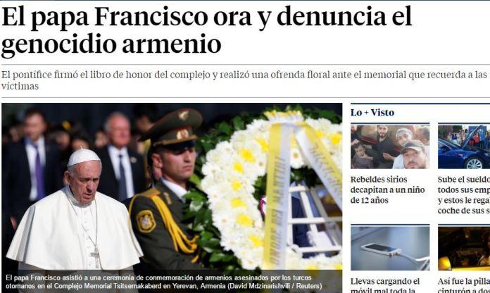 papa francisco monumento genocidio armenio