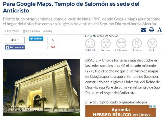 templo salomon anticristo brasil