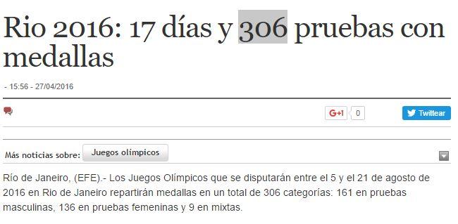 306 medallas de oro