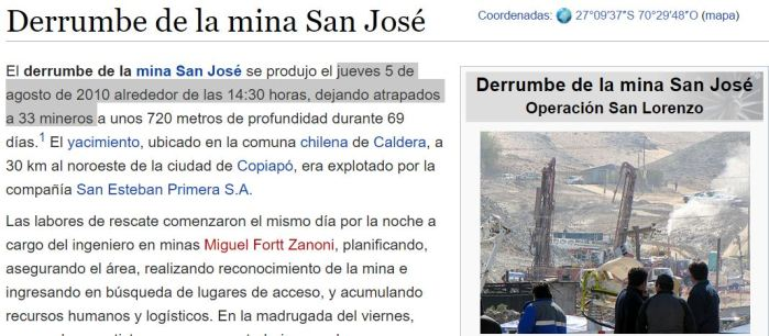33 mineros derrumbe 5 agosto 6 años antes rio