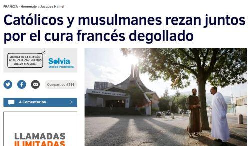 catolicos muslmanes rezan juntos por cura