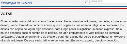 etimologia de votar