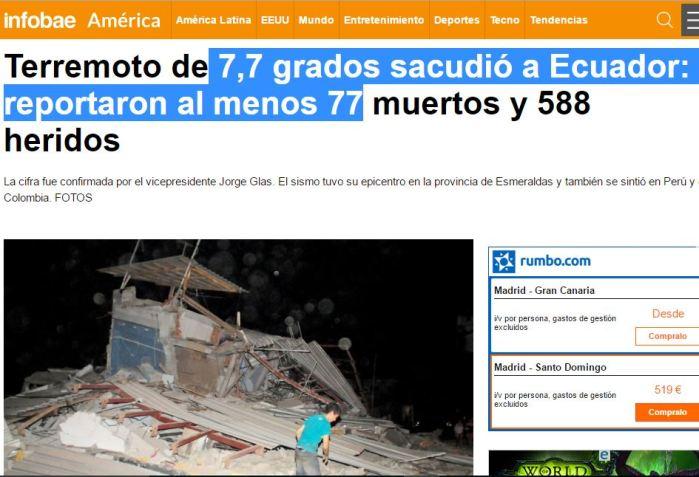 Terremoto ecuaddor 7,7 77