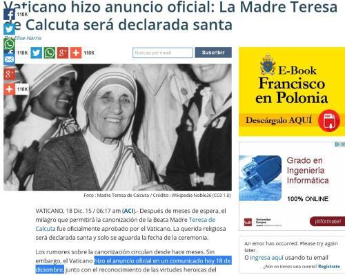 18-12-15 anuncio oficial vaticano teresa calcuta)