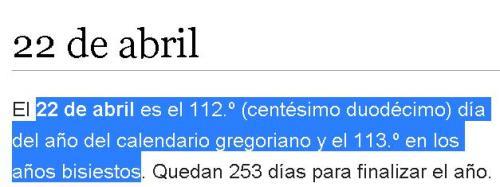 22 abril dia 113 gg