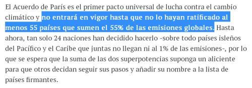 acuerdo clima parís 55 paises que sumen el 55% de las emisiones
