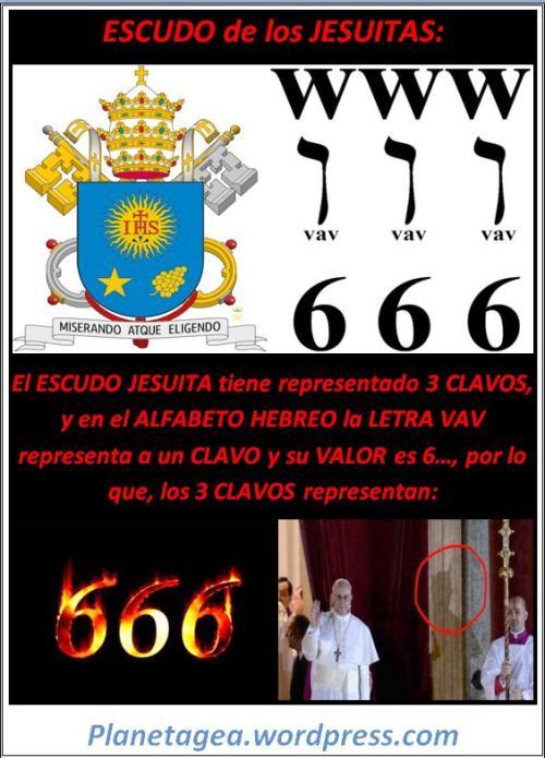 escudo jesuita tres clavos 666