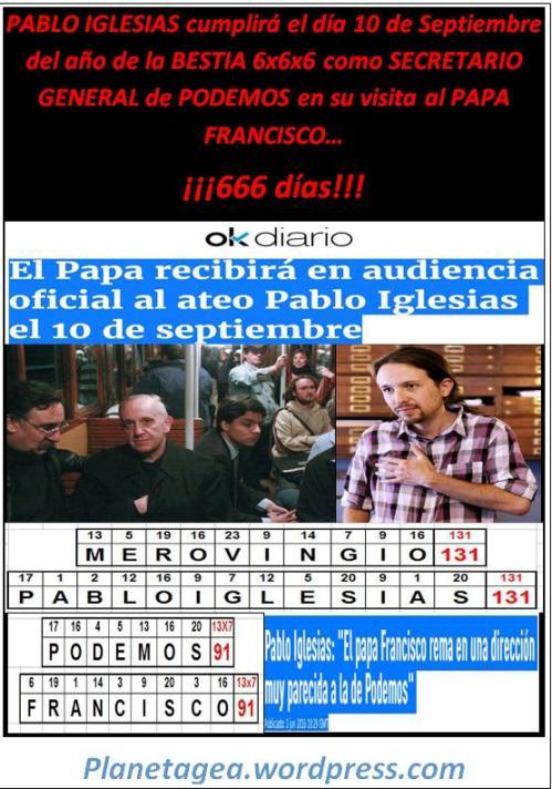 Pablo iglesias visita papa fco 666 días como secretario general