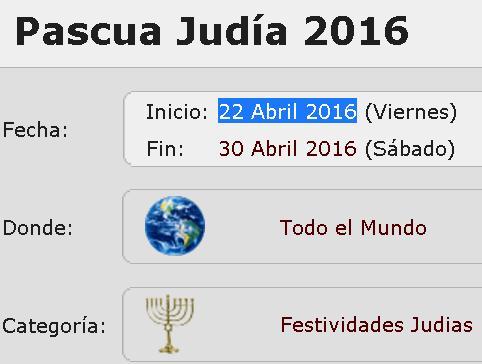 pascua judia 22 abril 2016
